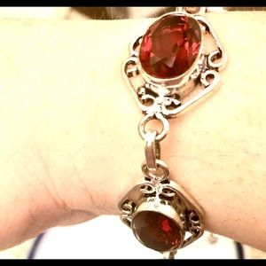 """SS Red Stained Glass Bracelet Fits 7.5-8"""" wrists"""
